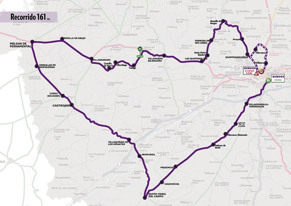 Mapa del recorrido de la primera etapa