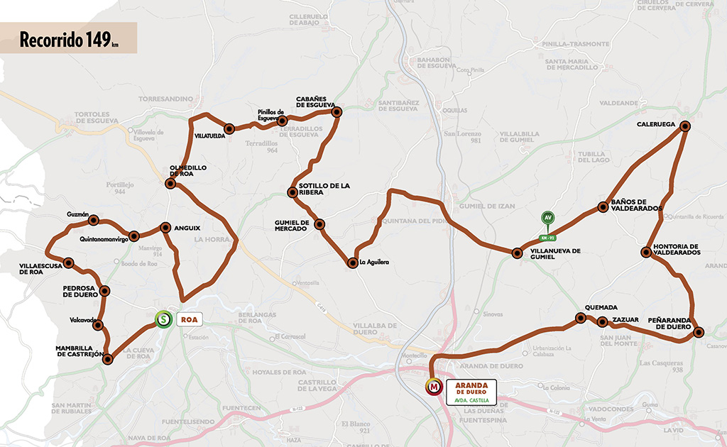 Mapa del recorrido de la cuarta etapa