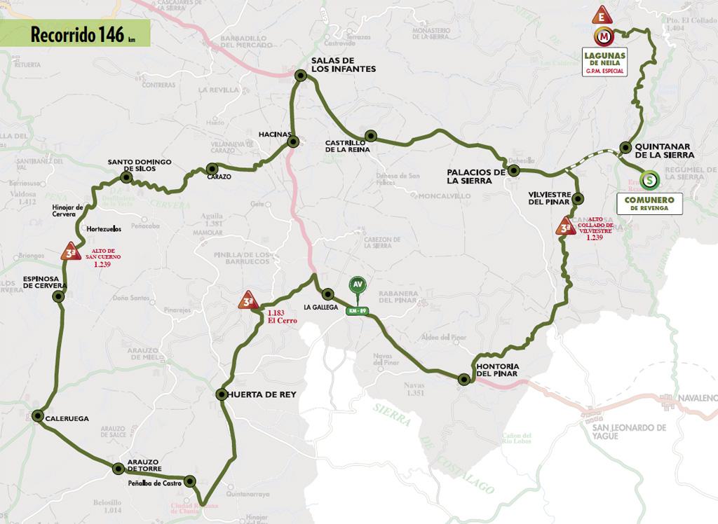 Mapa del recorrido de la quinta etapa